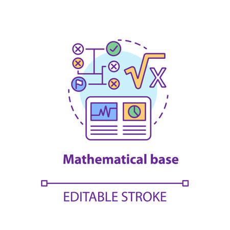 Mathematical base concept icon. Calculations idea thin line illustration. Combination of numbers and digits. Arithmetic and numerical system. Vector isolated outline drawing. Editable stroke Reklamní fotografie