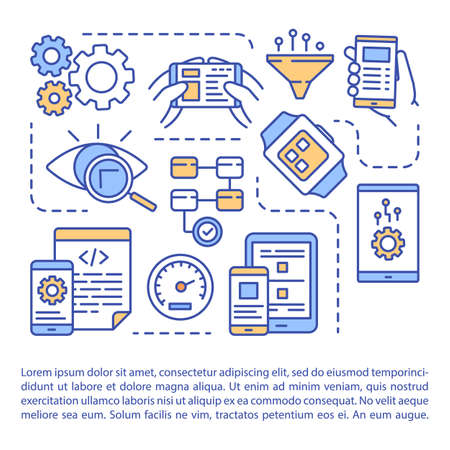 Software testing article page vector template. Mobile testing application. App development. Brochure, magazine, booklet design element with linear icons. Print design. Concept illustrations with text Reklamní fotografie