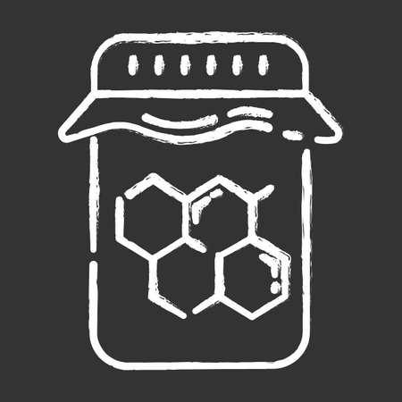 Honey wax jar chalk icon. Natural hard cold waxing product. Body, facial hair removal equipment. Tools for depilation. Professional beauty treatment cosmetics. Isolated vector chalkboard illustration