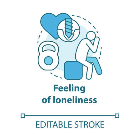 Feeling of loneliness concept icon. Depression. Resentment against partner. Love experiences. Trouble relationship idea thin line illustration. Vector isolated outline drawing. Editable stroke Reklamní fotografie