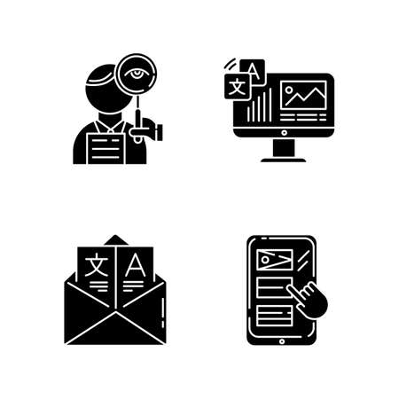 Translation glyph icons set. Proofreading, website localization. Multilingual online dictionary mobile app. Email translation, DTP services. Silhouette symbols. Vector isolated illustration