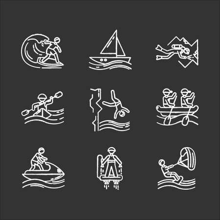 Watersports chalk icons set. Cave diving, surfing, flyboarding and sailing. Cliff diving, kayaking and windsurfing. Extreme kinds of sports. Beach activities. Isolated vector chalkboard illustrations Иллюстрация