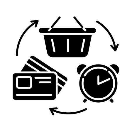 Revolving credit glyph icon. Consumer lines of credit. Buying goods with borrowed money. Commerce, retail. Budget, economy. Silhouette symbol. Negative space. Vector isolated illustration