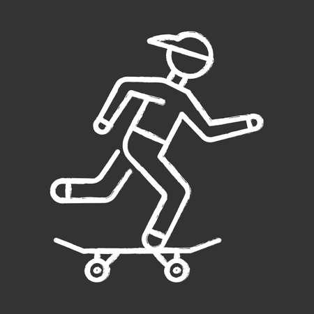 Skateboarding chalk icon. Street culture. Skater riding board. Skating guy. Person performing skateboard stunts. Extreme sport. Isolated vector chalkboard illustration