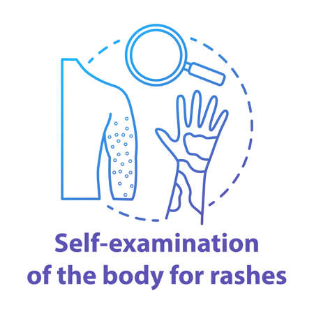 Body self-examination blue concept icon. Rash, eczema symptoms, signs. Inflammation, itchiness on skin. Safe sex. Dermatology idea thin line illustration. Vector isolated outline drawing Ilustração