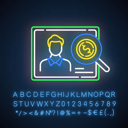 Verifying creditworthiness neon light icon. Examining personal credit history. Economy business. Investment, budget graph. Glowing sign with alphabet, numbers and symbols. Vector isolated illustration Vectores
