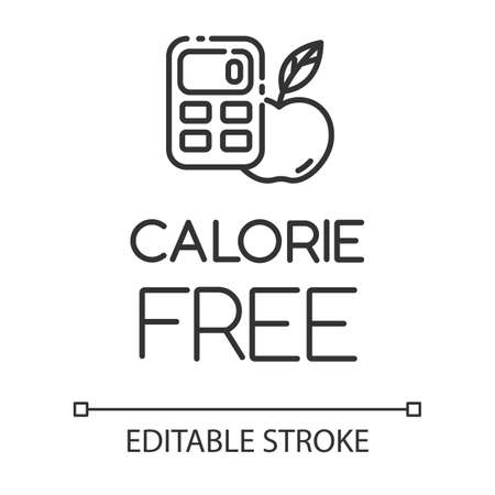 Calorie free linear icon. Low calories snacks for weight loss. Product free ingredient. Nutritious fruits. Thin line illustration. Contour symbol. Vector isolated outline drawing. Editable stroke