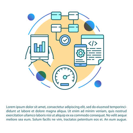 Software testing article page vector template. Mobile application. Coding. App development. Brochure, magazine, booklet design element with linear icons. Print design. Concept illustrations with text