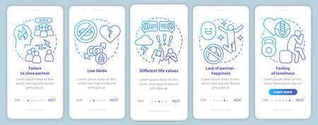 Relationship in trouble onboarding mobile app page screen with linear concepts. Failure to close partner walkthrough steps graphic instructions. UX, UI, GUI vector template with illustrations Illustration