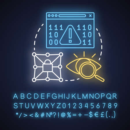 Security neon light concept icon. Data encryption idea. Mobile device coding. Privacy protection, cybersecurity. Glowing sign with alphabet, numbers and symbols. Vector isolated illustration
