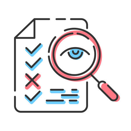 Professional proofreading service color icon. Text editing, mistake correction. Document quality control. Magnifier with checked list points. Isolated vector illustration