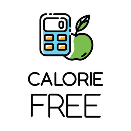 Calorie free color icon. Low calories snacks for weight loss. Product free ingredient. Fresh organic food. Nutritious fruits. Healthy eating, dietary. Balanced meals. Isolated vector illustration Reklamní fotografie