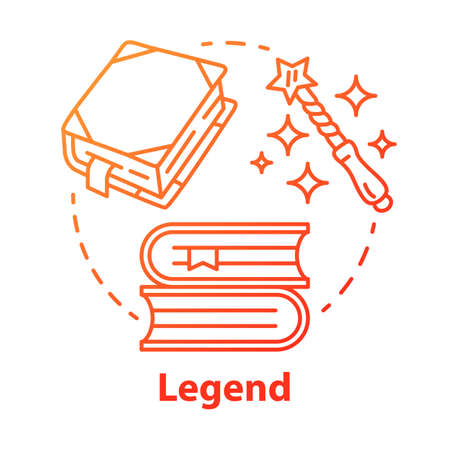 Legend red gradient concept icon. Storytelling idea thin line illustration. Fables, fiction, myths with magic literature elements. Fairy tales, fantasy books. Vector isolated outline drawing Stockfoto