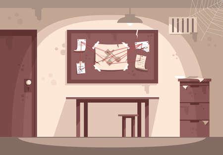 Illustration vectorielle plane du cabinet de police vide. Intérieur de la salle d'évasion. Lieu de travail de détective, enquête criminelle, résolution de mystères. Salle de quête. Divertissement moderne, jeu d'enquête