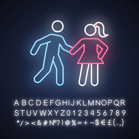 Date rape neon light icon. Women abuse, violent behavior. Sexual harassment of females. Victim of assault. Sexual activity without consent. Glowing sign with alphabet. Vector isolated illustration 向量圖像