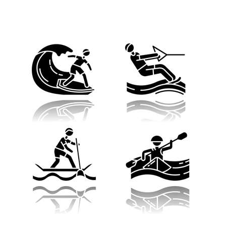 Watersports drop shadow black glyph icons set. Surfing, water skiing, rafting and sup boarding. Extreme kinds of sports. Summer vacation leisure, adventures. Isolated vector illustrations Illustration