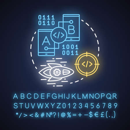 Test app neon light concept icon. Software development process idea. Tools for mobile device app programming. IT project. Glowing sign with alphabet, numbers and symbols. Vector isolated illustration Ilustrace