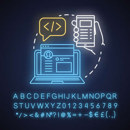 Front-end neon light concept icon. Software development kit idea. Programming and coding. Responsive website design. Glowing sign with alphabet, numbers and symbols. Vector isolated illustration Ilustrace