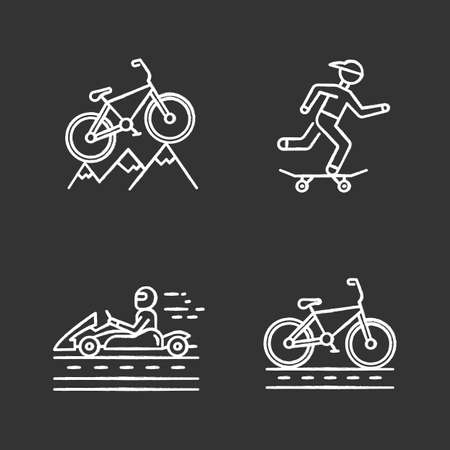 Extreme sports chalk icons set. Mountain cycling. Cross-country, downhill biking. Skateboarding. Karting, open-wheel motorsport. Cycling, bicycle racing. Isolated vector chalkboard illustrations