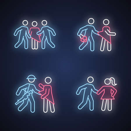 Different rape types neon light icons set. Sexual harassment of women. Date, statutory, war and gang rape. Sexual assaulted female victims. Glowing signs. Vector isolated illustrations