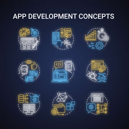 App development neon light concept icons set. Software programming idea. UI, UX creative design. Front-end, back-end developer. App performance management. Glowing vector isolated illustration