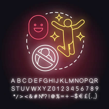 Lack of partner happiness neon light concept icon. Joy of being alone. Happy divorce. Fun from breaking relationship idea. Glowing sign with alphabet, numbers and symbols. Vector isolated illustration Stock Illustratie