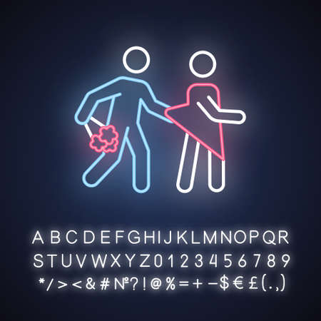 Date rape neon light icon. Women abuse, violent behavior. Sexual harassment of women, girls. Victim of assault. Unwanted sexual activity. Glowing sign with alphabet. Vector isolated illustration 스톡 콘텐츠 - 133791056