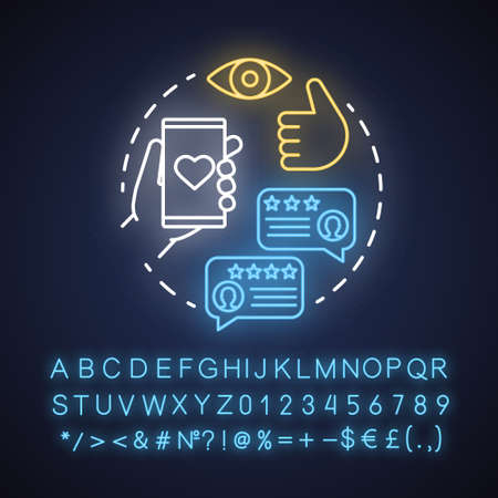 User satisfaction neon light concept icon. App rating. Social media comments. Content sharing idea. Customers feedback. Glowing sign with alphabet, numbers and symbols. Vector isolated illustration