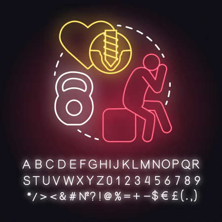 Feeling of loneliness neon light concept icon. Depression. Resentment against partner. Trouble relationship idea. Glowing sign with alphabet, numbers and symbols. Vector isolated illustration Ilustrace