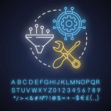 Service orchestration neon light concept icon. Software development idea. Application maintenance and optimization. Glowing sign with alphabet, numbers and symbols. Vector isolated illustration