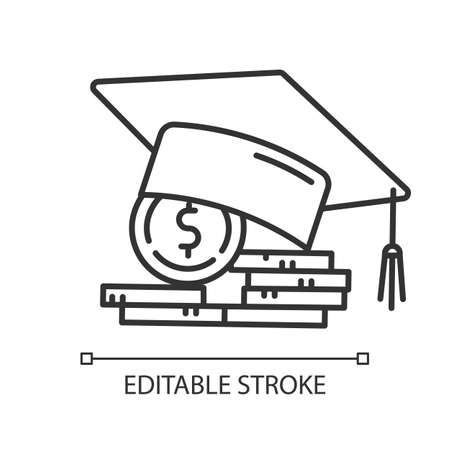 Student loan linear icon. Credit to pay for university education. Tuition fee. College scolarship. Thin line illustration. Contour symbol. Vector isolated outline drawing. Editable stroke Vectores