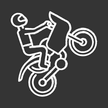 Motorcycling chalk icon. Track, road rally, speedway, motocross racing. Person performing motorbiking stunt. Extreme sport. Isolated vector chalkboard illustration Illustration