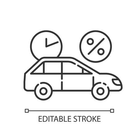 Car finance linear icon. Take credit to buy auto. Loan money for purchasing vehicle. Borrow, loan money. Thin line illustration. Contour symbol. Vector isolated outline drawing. Editable stroke