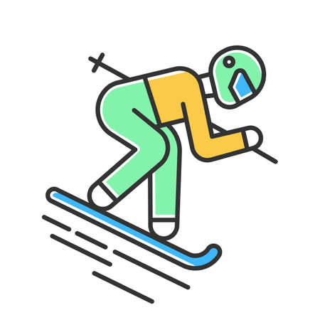 Skiing color icon. Winter extreme sport, risky activity and adventure. Cold seasonal outdoor dangerous leisure and hobby. Skier downhill freestyle ride. Isolated vector illustration