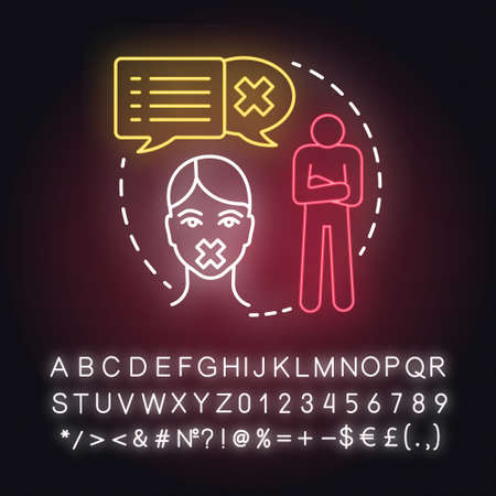 Stop consulting with partner neon light concept icon. Distrust indifference in relationship. Silent about problems idea. Glowing sign with alphabet, numbers and symbols. Vector isolated illustration Illustration