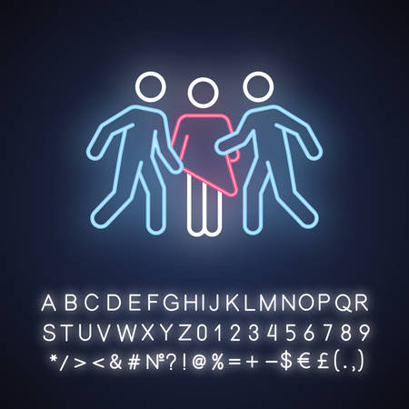 Gang rape neon light icon. Woman abuse. Violent, aggressive behavior of rapist. Sexual harassment of female by group. Unwanted sexual activity. Glowing sign with alphabet. Vector isolated illustration