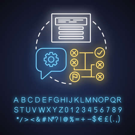 Automated testing neon light concept icon. Software development tools idea. Mobile device coding. Project management. Glowing sign with alphabet, numbers and symbols. Vector isolated illustration Ilustrace