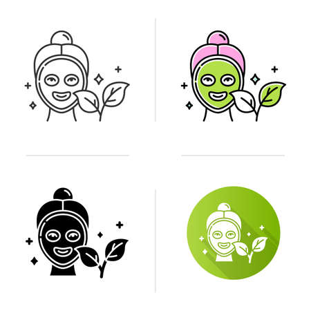 Face mask icon. Skincare routine. Plant-based. Beauty product. Facial healing treatment. Hydrating, cleansing. Organic cosmetics. Flat design, linear and color styles. Isolated vector illustrations