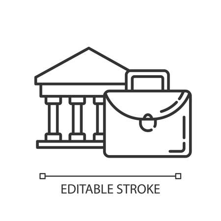Business industry linear icon. Credit bureau. Black briefcase and bank building. Economist case. Thin line illustration. Contour symbol. Vector isolated outline drawing. Editable stroke Ilustração