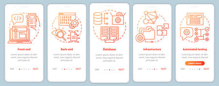 Front-end, back-end development onboarding mobile app page screen vector template. App programming. Walkthrough website steps with linear illustrations. UX, UI, GUI smartphone interface concept