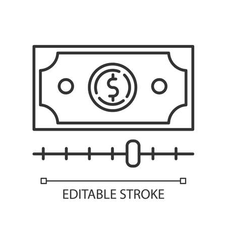 Cash advance linear icon. Increasing budget graph report. Budget growing. Investment with percentage gain. Thin line illustration. Contour symbol. Vector isolated outline drawing. Editable stroke