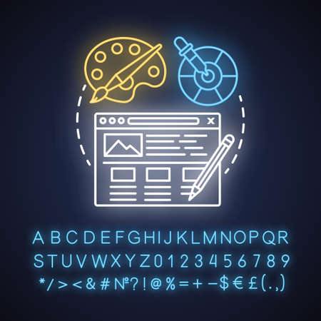 UI neon light concept icon. Software interface development idea. Designing mobile app graphics for user experience. Glowing sign with alphabet, numbers and symbols. Vector isolated illustration