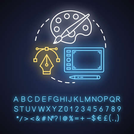 Graphic design neon light concept icon. Mobile device app digital interface development idea. Creative visual content. Glowing sign with alphabet, numbers and symbols. Vector isolated illustration Illustration