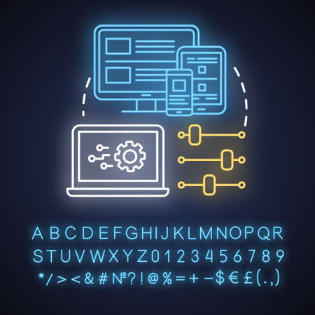 Responsive design neon light concept icon. Mobile software interface development idea. App graphics for user experience. Glowing sign with alphabet, numbers and symbols. Vector isolated illustration Illustration