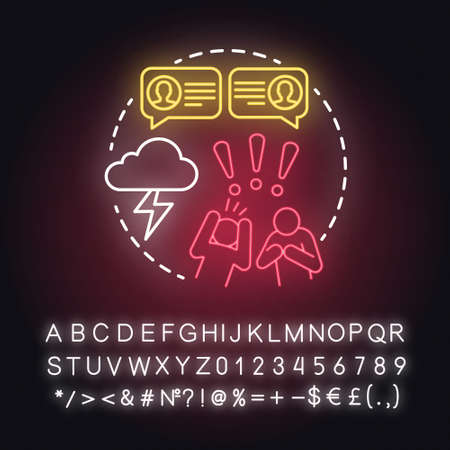 Different life values neon light concept icon. Family quarrel. Inability to negotiate. Partners mutual accusations idea. Glowing sign with alphabet, numbers and symbols. Vector isolated illustration