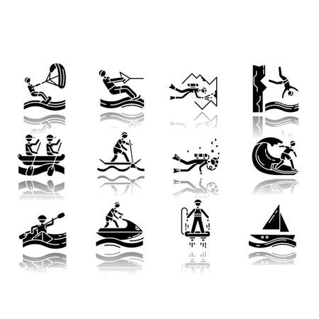 Watersports drop shadow black glyph icons set. Cave diving, kiteboarding and flyboarding. Cliff jumping and paddle surfing. Watercraft, extreme kinds of sport. Isolated vector illustrations