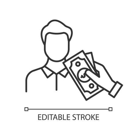 Borrowing cash linear icon. Lending money. Pay for credit, loan. Man taking dollar banknotes. Economy industry. Thin line illustration. Contour symbol. Vector isolated outline drawing. Editable stroke Illustration