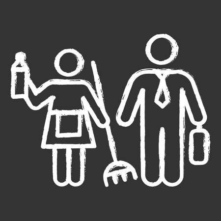 Gender stereotypes chalk icon. Female and male domestic, work life. Woman, man rights. Social inequality. Shared family responsibilities. Houswife, worker. Isolated vector chalkboard illustration