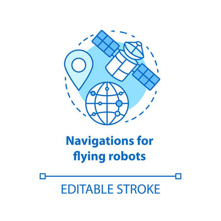 Navigations for flying robots blue concept icon. Satellites idea thin line illustration. GPRS for drones, robotic devices. Directions from space. Vector isolated outline drawing. Editable stroke
