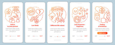 Relationship in trouble signs onboarding mobile app page screen with linear concepts. Low libido walkthrough steps graphic instructions. UX, UI, GUI vector template with illustrations